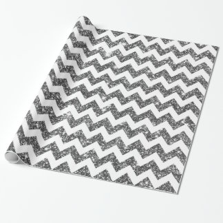 Silver Faux Glitter Shining Chevron Pattern Girly Wrapping Paper