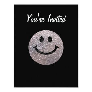 """Silver faux glitter smiley face 4.25"""" x 5.5"""" invitation card"""