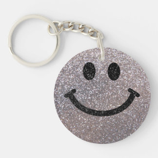 Silver faux glitter smiley face keychain