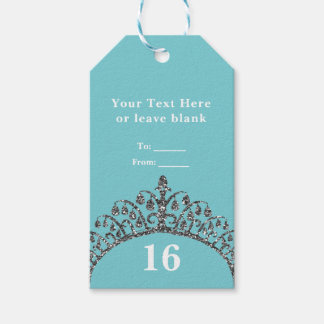 Silver Faux Glitter Tiara Crown Custom Party Favor Pack Of Gift Tags