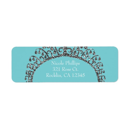 Silver Faux Glitter Tiara Crown Party Invitation Return Address Label