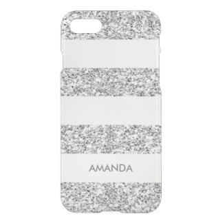 Silver Faux Glitter white Stripe add your name iPhone 8/7 Case