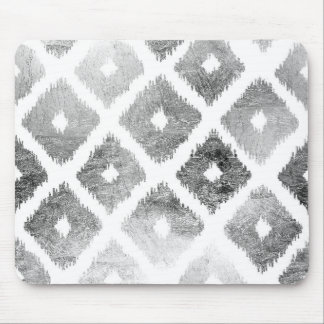 Silver faux leaf modern abstract geometric pattern mouse pad