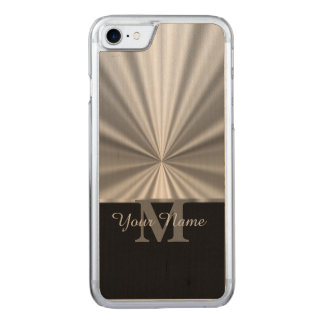 Silver faux metallic black monogram carved iPhone 7 case