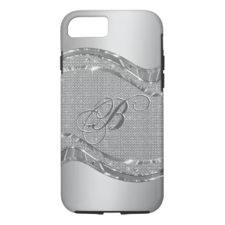 Silver Faux Metallic Look With Diamonds Pattern 2 iPhone 8/7 Case