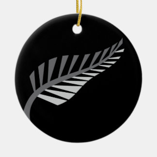 Silver Fern Awesome New Zealand image Round Ceramic Ornament