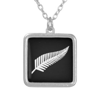 Silver Fern Flag of New Zealand Silver Plated Necklace