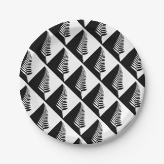 Silver Fern of New Zealand Paper Plate