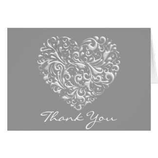 Silver FILIGREE HEART Thank You Card