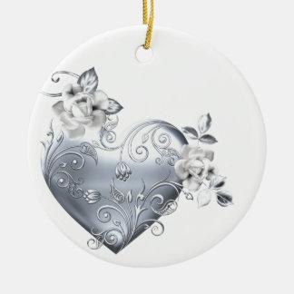 Silver Filigree Heart & White Roses Ceramic Ornament