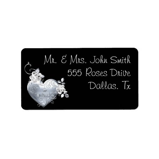 Silver Filigree Heart & White Roses Address Label