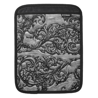 Silver Filigree iPad Sleeve - Vertical