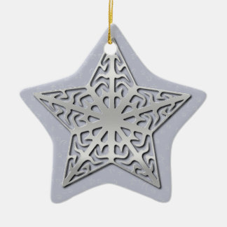 Silver Filigree Star Ceramic Star Ornament