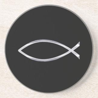 Silver Fish Symbol on Black Background Coaster