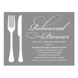 SILVER FLATWARE REHEARSAL DINNER INVITE POST CARDS