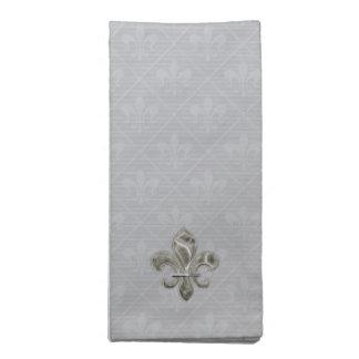 Silver Fleur de Lis Cloth Napkins