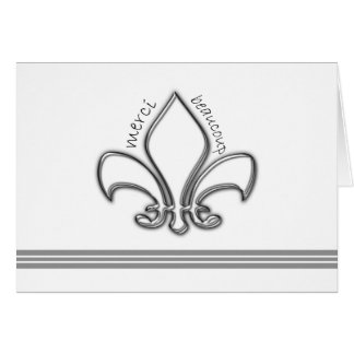 Silver Fleur de Lis Merci Thank You in French Card