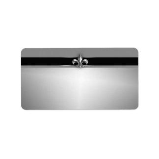 Silver Fleur de Lis noir moderne Étiquettes D'adresse