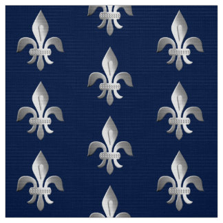 Silver Fleur-de-lis on indigo blue Fabric
