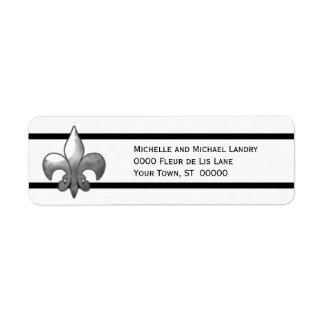 Silver Fleur de Lis with Black Stripes