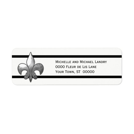 Silver Fleur de Lis with Black Stripes