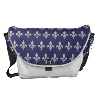 Silver Fleur de lys Floral Blue Large Messenger Commuter Bag