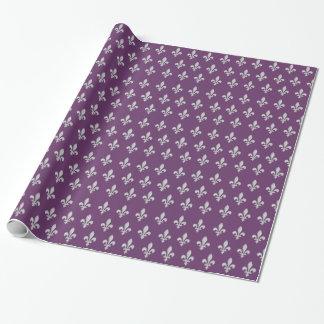 Silver Fleur de lys Floral Royal Purple Giftwrap Wrapping Paper