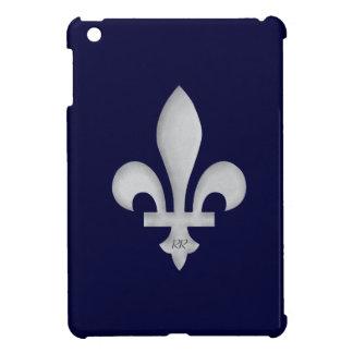 Silver Fleur-de-Lys on Blue iPad Mini Case