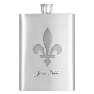 Silver Fleur-de-Lys Personalized Premium Flask