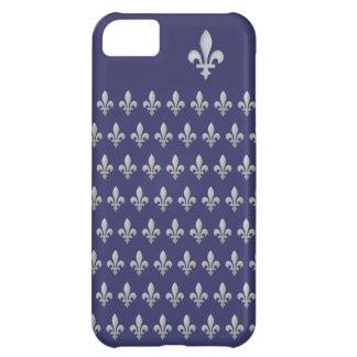 Silver Fleur de lys Royal Blue iPhone 5 Case
