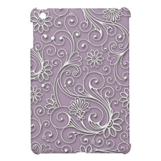 Silver Floral Hard Plastic Shell iPad Mini Case