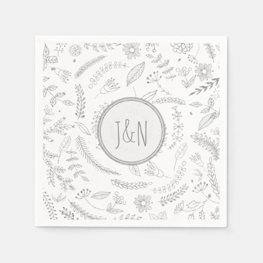 Silver Floral Leaves Rustic Wedding Reception Disposable Napkin