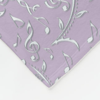 Silver Floral Music Notes On Lavender Or Any Color Fleece Blanket