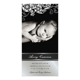 Silver Floral Paisley Baby Girl Birth Announcement Card