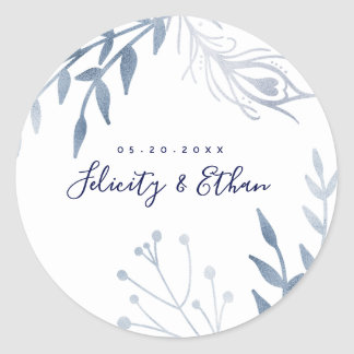 Silver Floral Peacock Feather Wedding Sticker