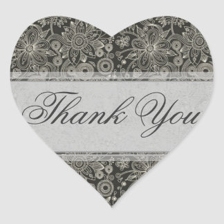 Silver Floral Thank You Sticker/Seal