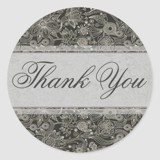 Silver Floral Thank You Sticker Seal