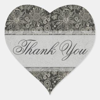 Silver Floral Thank You Sticker/Seal Heart Sticker