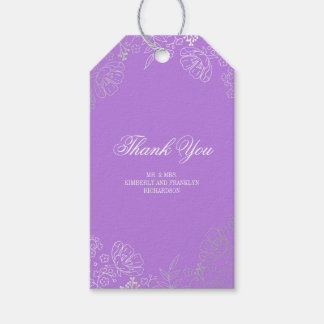 Silver Floral Vintage Elegant Purple Wedding Gift Tags