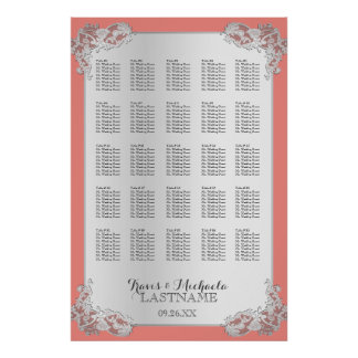 Silver Floral Wedding Seating Chart 24x36 Poster