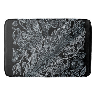 silver florals inlay style bath mat
