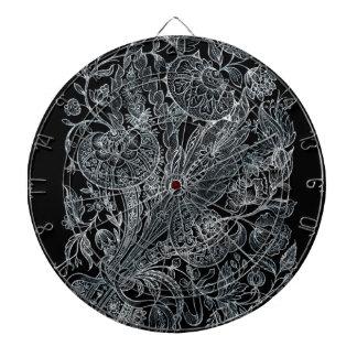 silver florals inlay style dartboard