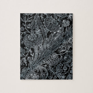 silver florals inlay style jigsaw puzzle