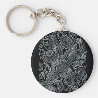 silver florals inlay style keychain