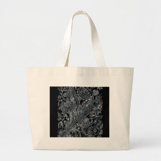 silver florals inlay style large tote bag