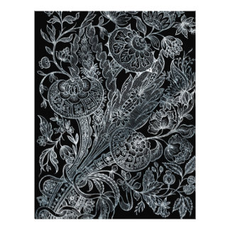 silver florals inlay style letterhead