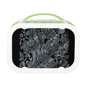 silver florals inlay style lunch box