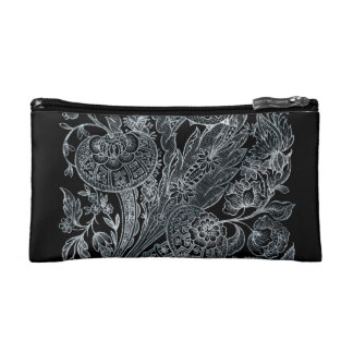 silver florals inlay style makeup bag