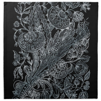 silver florals inlay style napkin