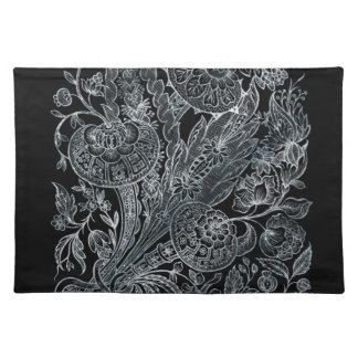 silver florals inlay style placemat